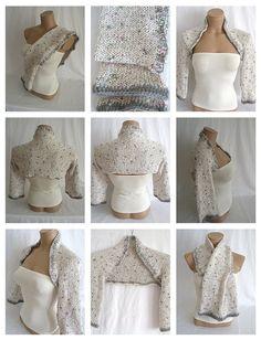 Hand knitted crocheted white gray pink bolero shrug