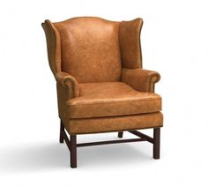 The wingback chairs created by Thomas Chippendale in the century were defined by their camel backs, oversized wings and scrolling arms. Our take retains all the fine points of the originals, creating an armchair that's destined to becom… Leather Bean Bag Chair, Leather Chaise Lounge Chair, Leather Chair With Ottoman, Leather Recliner, Leather Chairs, Pub Table And Chairs, Farmhouse Table Chairs, Dining Chairs, Tables