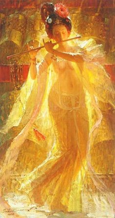 Zhiwei Tu (Chinese painter) 1951 -  芙蓉樂舞 (Hibiscus music and dance), s.d.  oil
