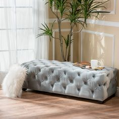 Piper Tufted Velvet Fabric Rectangle Ottoman Bench - Dark Teal - Christopher Knight Home : Target Tufted Ottoman, Ottoman Bench, Blue Ottoman, Ottoman Decor, Bed Bench, Furniture Deals, New Furniture, Velvet Furniture, Apartment Furniture