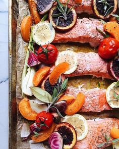 Roasted salmon with blood oranges, apricots, beets, spring onions and chili lime…