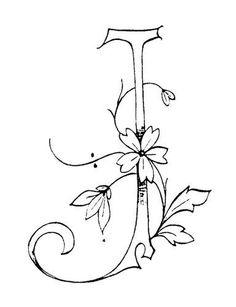 Suite alphabet fleuri - Broderie d'Antan j/ monogram / hand drawn type / fonts and flowers / sketch / Embroidery Alphabet, Embroidery Monogram, Ribbon Embroidery, Cross Stitch Embroidery, Embroidery Designs, Monogram Stencil, Decoupage, Fancy Letters, Creative Lettering