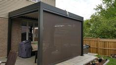 Pergola made of aluminum with motorized screens. #pergolascreen #pergolasides #aluminumpergola #pergola #pergolas #landscaping #landscapingarchitecture #landscapingideas #landscapingarchitects #backyard #backyards #backyardlandscaping