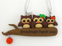 Personalize Owl Family Christmas Ornament by PeeWeesClayHouse, $17.50