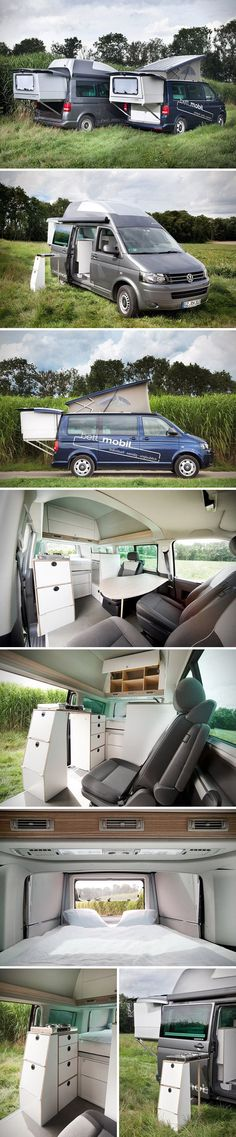 The Bett Mobil is a smartly designed add-on that transforms the Volkswagen Multivan into a full-fledged camper. The slide-out bedroom fits inside the tailgate and takes only a few minutes to set up, yielding a 53.5 x 78.7-inch sleeping area when finished. The wash area module features a sink with a 20-liter fresh water tank, 10-liter waste water tank, 50-liter compressor fridge, and storage compartment for a camping toilet