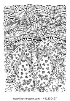 Coloring book for adult. Sea beach. Slippers, sand and shell. Hand drawn flip flop sandal