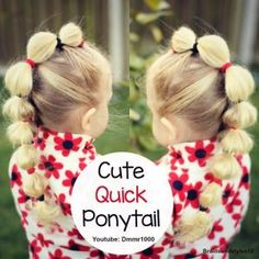 A cute , sassy and Quick Ponytail Hairstyle perfect for a little girl ;) I think ponytail Hairstyle would be great for gymnastics, sports, dance, and school ;) Click below for a tutorial :) by regina