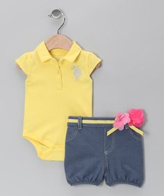 Goldenrod Bodysuit & Denim Shorts - Infant by U.S. POLO ASSOC on #zulily today