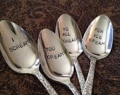 Recycled silverware hand stamped ice cream spoons