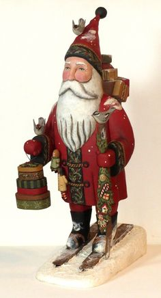 """18"""" Tall Santa on Skies by woodcarver Greg Guedel have arrived"""
