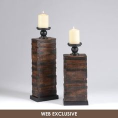 Stacked Wood Candle Holder, Set of 2