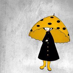 Rainy day - Girl with yellow umbrella on a gray day - Illustration print via Etsy. Yellow Umbrella, Umbrella Art, Under My Umbrella, Art And Illustration, Illustration Inspiration, Photographie Portrait Inspiration, Walking In The Rain, Mellow Yellow, Yellow Black