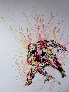 iron man,avengers,marvel,watercolor,A3,assemble,art,artwork,painting,draw