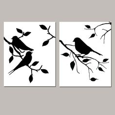 Birds of a Feather Duo - Set of Two Modern Bird Prints - Kitchen, Bathroom, Nursery - Choose Your Colors - Shown in Black and White Vogel Silhouette, Tree Silhouette, Canvas Silhouette, Canvas Artwork, Canvas Art Prints, Bird Stencil, Damask Stencil, Stencil Patterns, Feather Wall Art