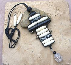 Quartz Cracked Crystal Buffalo Horn Carved by KipajiPraiseJewelry, $28.00