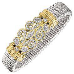 12mm bangle, sterling silver with 14kt. yellow gold.  Diamonds 1.04 CTS. T.W.  #Vahan #AlwandVahan #Bracelet