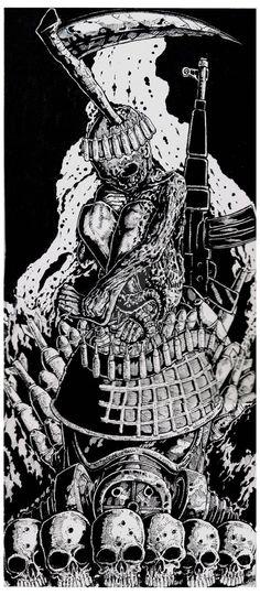 Chemical warfare / colored by lungsout on DeviantArt Anubis, Death Metal, Metal Bands, Warfare, Spiderman, Deviantart, Superhero, Artist, Artwork