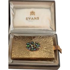 Title: EXCEPTIONAL Rare Evans Compact Combination Purse In Original Box w/Rhinestones, Price: $228 USD , Category: Vintage Fashion:Women's:Accessories, Shop: It's All About The Bling, Description: Amazing vintage Evans necessaire or combination powder, rouge, lipstick and cigarette holder (second compartment in the back). The original box is intact with some discoloration in the gray suede