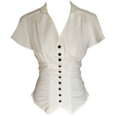 Ivory White Vintage 40s Retro Steampunk Gothic Victorian Button... (54 CAD) ❤ liked on Polyvore featuring tops, blouses, white blouse, ruched top, button blouse, retro tops and vintage white blouse