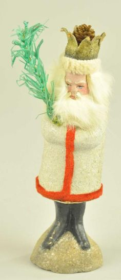 PELZ NICHOL SANTA CANDY CONTAINER,white with red trim coat. Wears a crown hat.