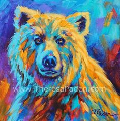 """Colorful Animal Art   Grizzly Bear Painting     By Theresa Paden     """"Grizzly Stare""""         10 x 10""""     Acrylic painting on 1/..."""