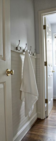 Our Fifth House: Fresh Paint, Beadboard Wallpaper & Towel Hooks - hanging beadboard wallpaper horizontally (Diy Bathroom Kids) Hang Towels In Bathroom, Bathroom Kids, Small Bathroom, Neutral Bathroom, Hanging Towels, Bathroom Bath, Diy Hanging, Bath Tub, Bad Inspiration