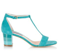 e67d3708ae2b Alberto Guardiani SALLY T-strap turquoise suede leather color-block mid heel  sandals. Fratelli Karida