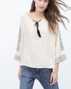 LONG EMBROIDERED BLOUSE from Zara