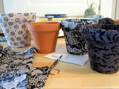 DIY: Fabric Covered Pots: Use school print fabric for the classroom