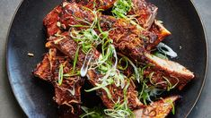 The glaze for these ribs combines Korean gochujang and Italian Calabrian chiles, and it works beautifully. Bon Appetit, Red Miso, Chile, Rice Porridge, Mustard Greens, Honey Glaze, Spare Ribs, Glaze Recipe, Top Recipes