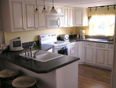 Homes & Trailers Makeovers mobile home makeover Mobile Home Kitchens, Mobile Home Living, Remodeling Mobile Homes, Home Remodeling, Single Wide Remodel, Mobile Home Makeovers, Mobile Home Decorating, Decorative Bird Houses, Thing 1
