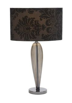 """Glass and Metal 25"""" Table Lamp in Black Shade with Classic Design"""