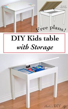 Easy Diy Kids Table With Storage Build A Schoolhouse Desk. Kids Table With Storage, Kids Storage, Desk Storage, Diy Storage Table, Desk Organization, Storage Ideas, Diy Kids Furniture, Furniture Plans, Origami Furniture
