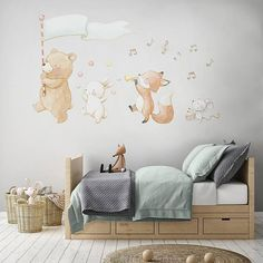 Lovely nursery prints and reposicionable fabric wall decals made with love by AidaZamora Baby Bedroom, Baby Boy Rooms, Baby Room Decor, Kids Bedroom, Nursery Decor, Animal Wall Decals, Nursery Wall Decals, Creative Kids Rooms, Baby Art