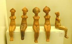 Five nude female figurines |  Terracotta  2nd cent.  BCE Ancient Epidauros,-