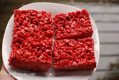 """Red Velvet Rice Crispy TreatsMelt butter and mini marshmallows over low heat. When the marshmallows are completely melted, mix in the vanilla and red velvet cake mix.  Remove from heat and carefully stir in the rice crispies until evenly coated.  Pour the batter into a lined or greased 13""""x9"""" pan and press down.  Wait until cooled and cut to serve."""