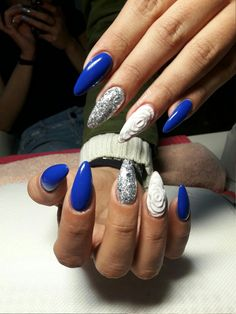 #nails #blue #rose #white #silver #almond #acrylic #long #long_nails