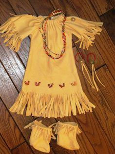 for 18 inch doll -- I have been wanting to do an Indian outfit for her--I just bought a suede shirt at thrift store that should do great for this.  We shall see!