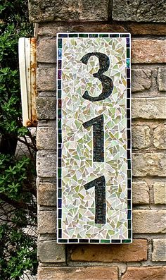Mosaic house numbers -- I wish! Notice how well the numbers show with the dark against the light