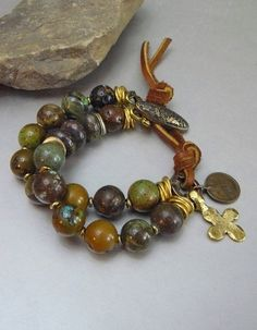 Desert Sky Organic Natural Turquoise Bracelet with by pmdesigns09