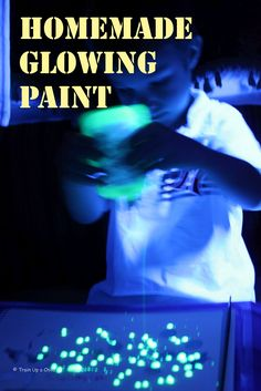 Homemade Glowing Paint ~ School glue yellow highlighter and black light is required.