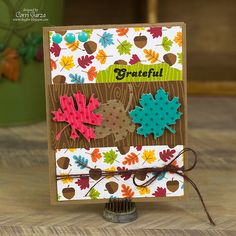 Give Thanks / Grateful Leaves card by Corri Garza (a Silhouette card project idea)