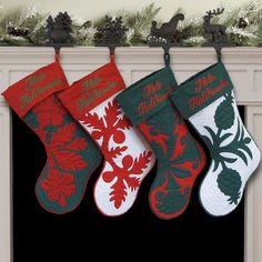 Hand Quilted Hawaiian Christmas Stockings/ Red Uli - Awesome Christmas Gift Idea !!! 4 stockings that match the Christmas tree skirt. Red/Green Uli - Plain cuff