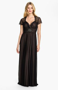 Betsy & adam Lace Sleeve Pleated Mesh Gown in Black