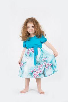 Sakura silk and cotton dress. Hand painted silk by ArmeniaOnSilk, $120.00