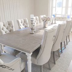Dining room decorating – Home Decor Decorating Ideas Formal Dinning Room, Dining Room Table Decor, Luxury Dining Room, Elegant Dining Room, Dining Room Design, Dining Room Furniture, Room Decor, White Dinning Table, Dinner Room