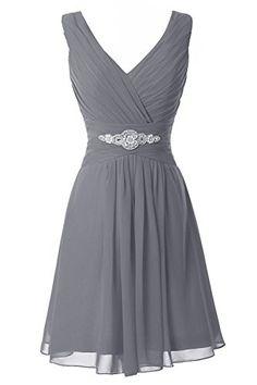 Manfei Women's V-Neck Chiffon Short Bridesmaid Dress Part...