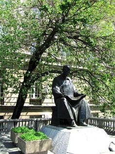 Belgrade, Serbia. Nikola Tesla Monument in front of the Faculty of Electrical Engineering is the same as the one at Niagara Falls.