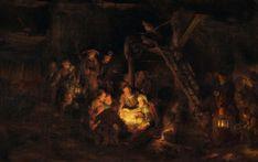 Rembrandt Harmenszoon van Rijn [Dutch Baroque Era Painter and Engraver, 1606-1669]  'Adoration of the Shepherds'(1) 1646 Oil on canvas 1646 Original: www.flickr.com/photos/eoskins/5224521892/in/set-721576255...  ____  Digital compilation, restoration or enhancement by plumleaves.
