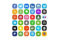36 iconos de redes sociales en cuatro estilos gratis